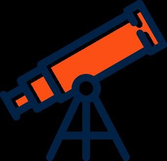 Buzzworthy website design telescope graphic