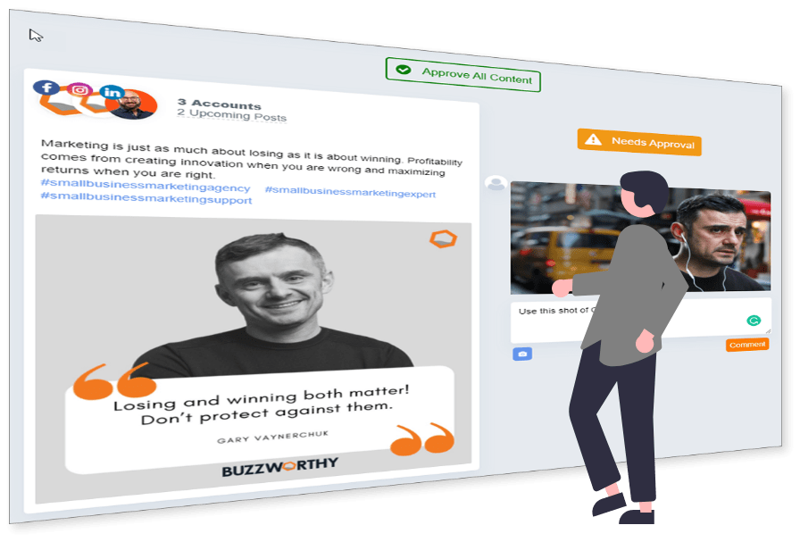 Buzzsocial social media marketing graphic team member approval