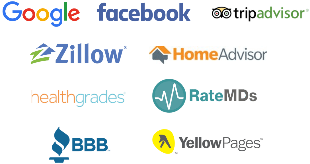 Logos of companies that enable customer reviews